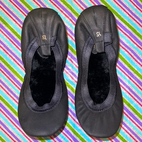 Yosi Samra Foldable Shearling Leather Flat Size 8